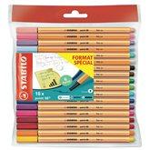 Stabilo Feutres d'écriture Stabilo Point 88 dont 6 pastels - x18
